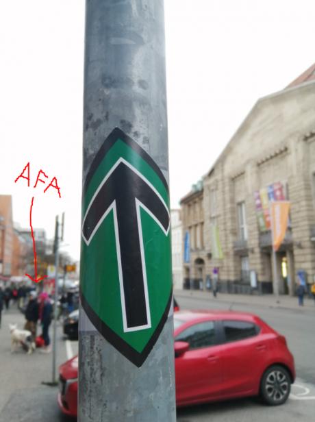 Aktivister har opsat modstandsbevægelsens klistermærker, i den Antifa inficeret by, Lübeck, i Tyskland.